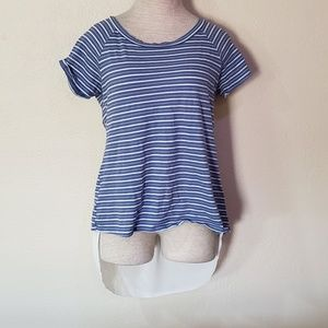 Emberley blue white striped blouse L